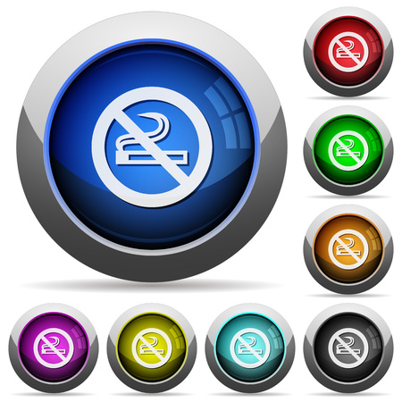 No smoking sign icons in round glossy buttons with steel frames Illustration
