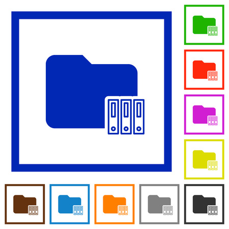 organize: Organize folder flat color icons in square frames Illustration