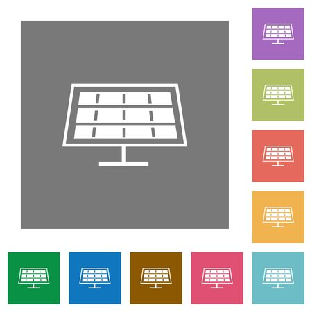 solarenergy: Solar panel flat icons on simple color square background.