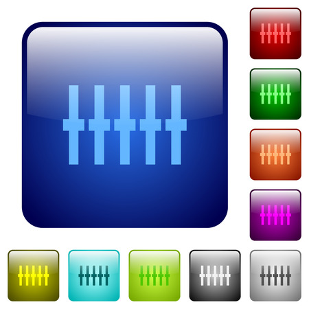 equalizer sliders: Graphical equalizer color glass rounded square button set Illustration