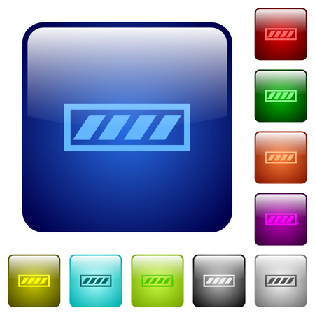 executing: Progress bar color glass rounded square button set