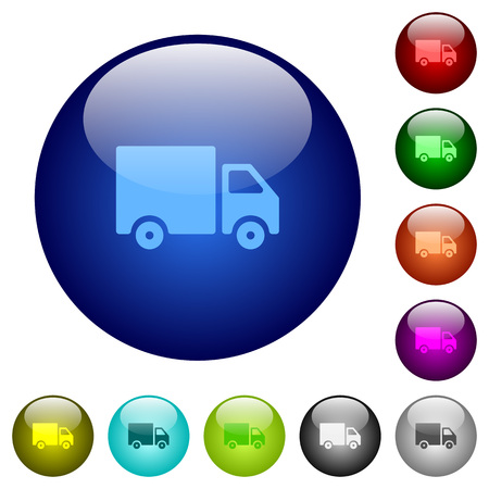 Delivery truck icons on round color glass buttons