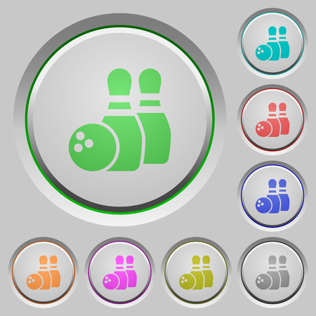 dexterity: Bowling color icons on sunk push buttons