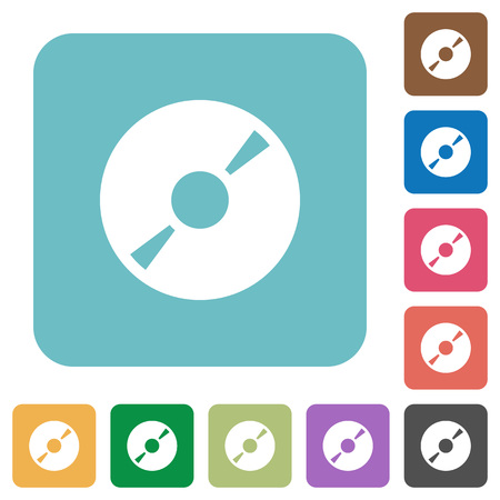 DVD disk white flat icons on color rounded square backgrounds Illustration