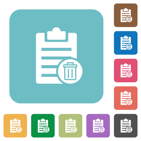 writing pad: Delete note white flat icons on color rounded square backgrounds