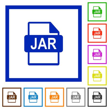 applet: JAR file format flat color icons in square frames Illustration