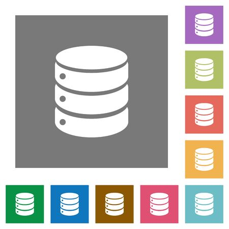 sql: Database flat icons on simple color square background.