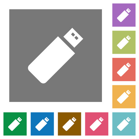 pendrive: Pendrive flat icons on simple color square background.
