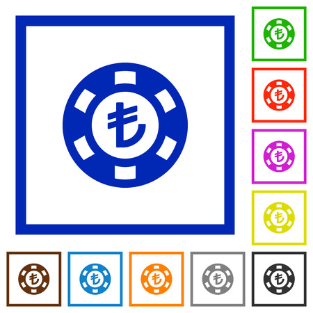 lira: Turkish Lira casino chip flat color icons in square frames Illustration