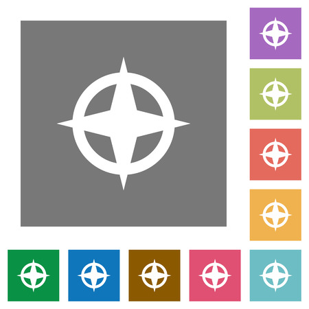 backsight: Map directions flat icons on simple color square background.