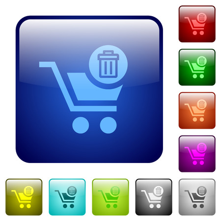 rubbish cart: Delete from cart color glass rounded square button set