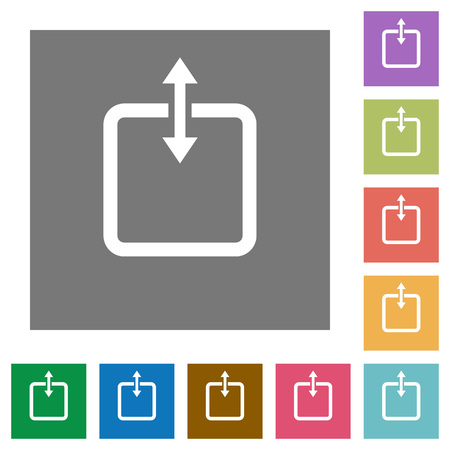 Adjust item height flat icons on simple color square background.