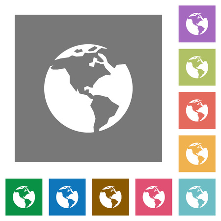 flat earth: Earth flat icons on simple color square background. Illustration