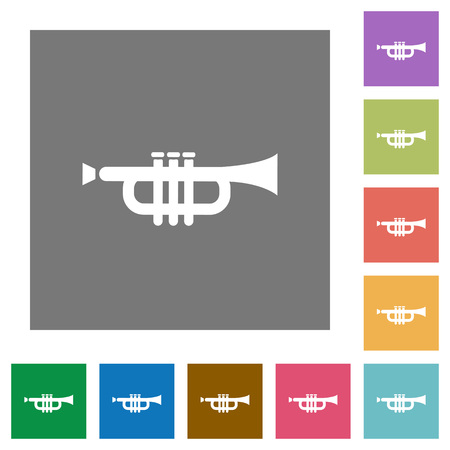 tact: Trumpet flat icons on simple color square background.