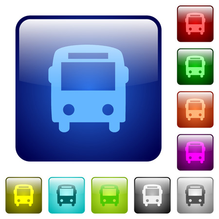 rounded: Bus color glass rounded square button set