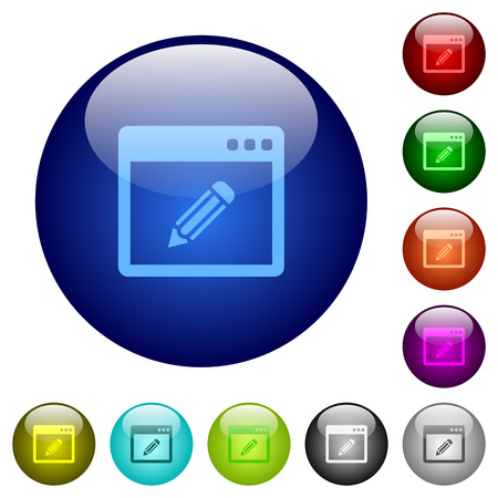 Application edit icons on round color glass buttons Illustration