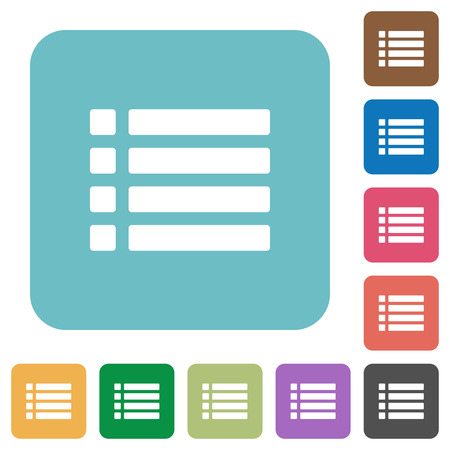 disordered: Unordered list white flat icons on color rounded square backgrounds Illustration