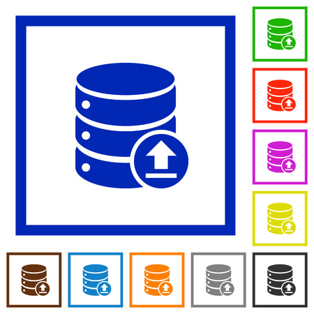 restore: Restore database flat color icons in square frames Illustration