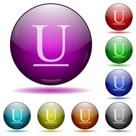 Underlined font type color glass sphere buttons with sadows.
