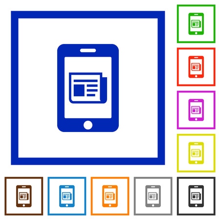 newsfeed: Mobile newsfeed flat color icons in square frames