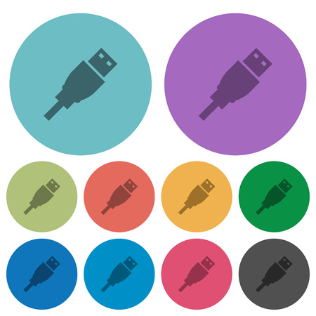 USB plug flat icons on color round background