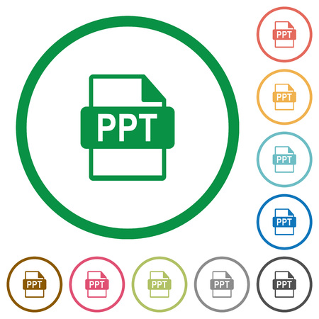 ppt: PPT file format flat color icons in round outlines Illustration