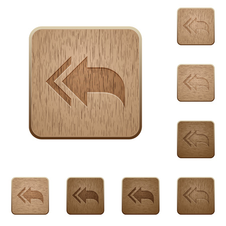 reply: Reply to all icons in carved wooden button styles Illustration