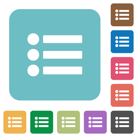 flecks: Bullet list flat icons on simple color square background. Illustration
