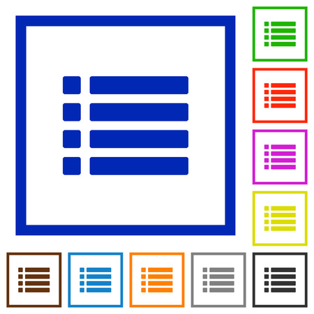 disordered: Unordered list flat color icons in square frames