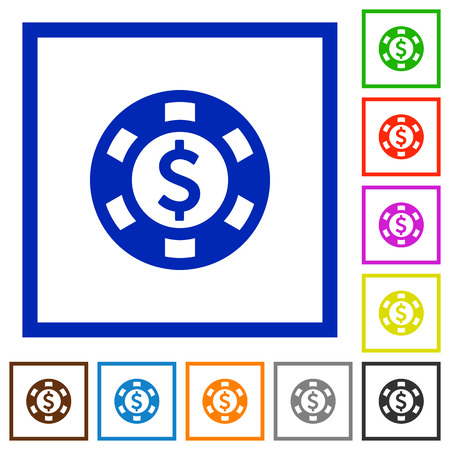 roulette layout: Dollar casino chip flat color icons in square frames