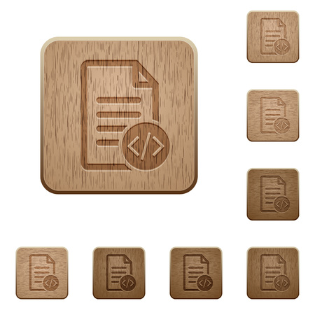 Source code document icons in carved wooden button styles Stock Vector - 66118378