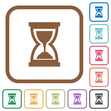 conceptional: Hourglass simple icons in color rounded square frames on white background Illustration