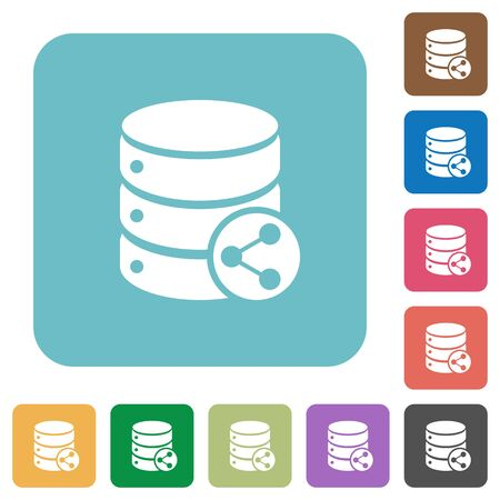 Database table relations flat icons on simple color square background.