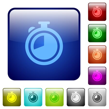 elapsed: Timer color glass rounded square button set Illustration