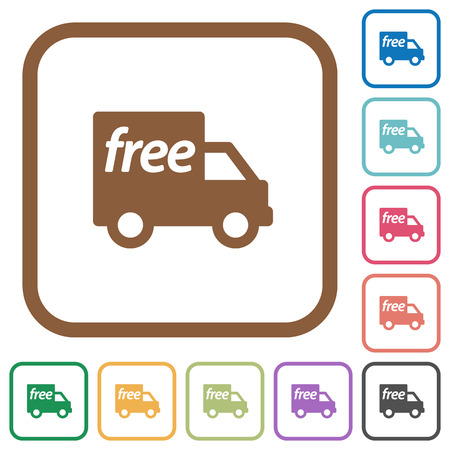shipper: Free shipping simple icons in color rounded square frames on white background