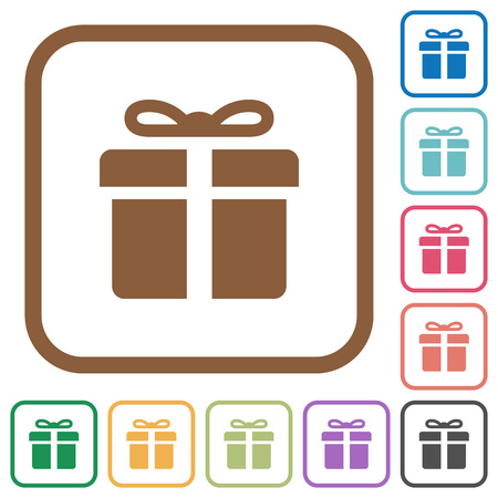 donative: Gift box simple icons in color rounded square frames on white background