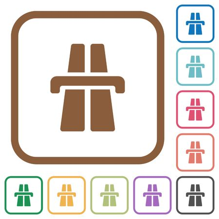 bent highway: Highway simple icons in color rounded square frames on white background Illustration