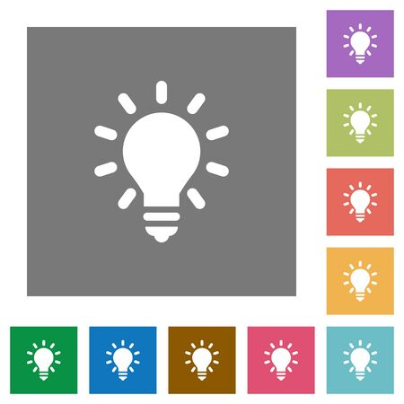 lighting button: Lighting bulb flat icons on simple color square background.