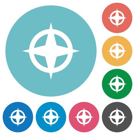 backsight: Map directions white flat icons on color rounded square backgrounds Illustration