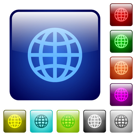 routing: Globe color glass rounded square button set