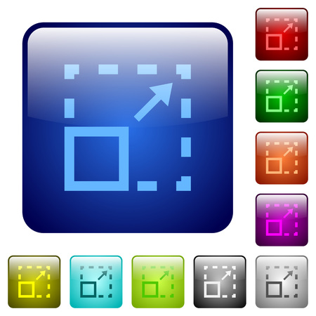 maximize: Maximize element color glass rounded square button set