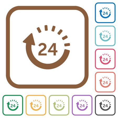 24 hour delivery simple icons in color rounded square frames on white background