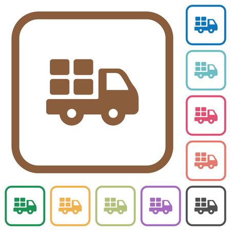 shipper: Transport simple icons in color rounded square frames on white background Illustration