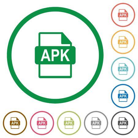 installer: APK file format flat color icons in round outlines Illustration