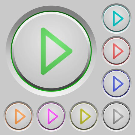 play of color: Media play color icons on sunk push buttons
