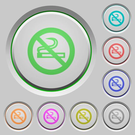 unsanitary: No smoking color icons on sunk push buttons