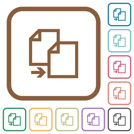 instances: Copy item simple icons in color rounded square frames on white background Illustration