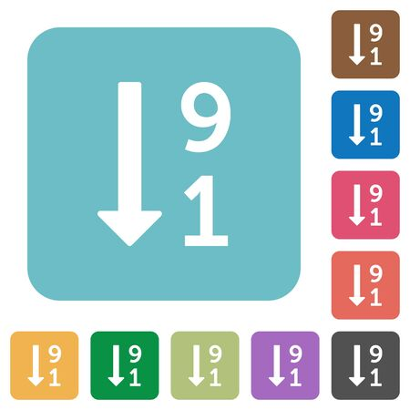 numbering: Descending numbered list flat icons on simple color square background. Illustration