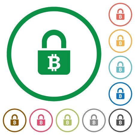 Locked Bitcoins flat color icons in round outlines