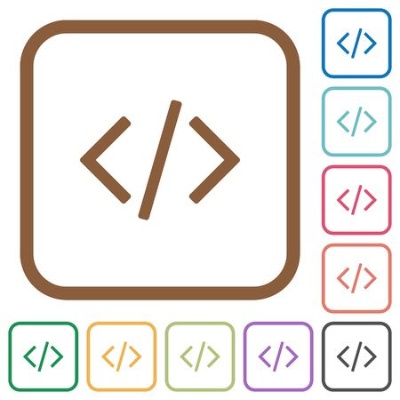 programming code: Programming code simple icons in color rounded square frames on white background